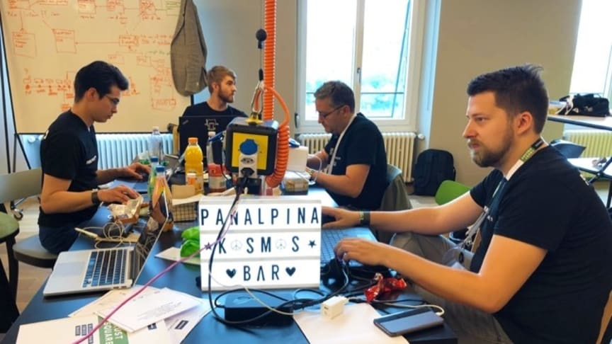 Panalpina's hacker team, Kosmos, at work: coding a blockchain solution to trace and authenticate products within the pharmaceutical supply chain. (Photo: Panalpina)