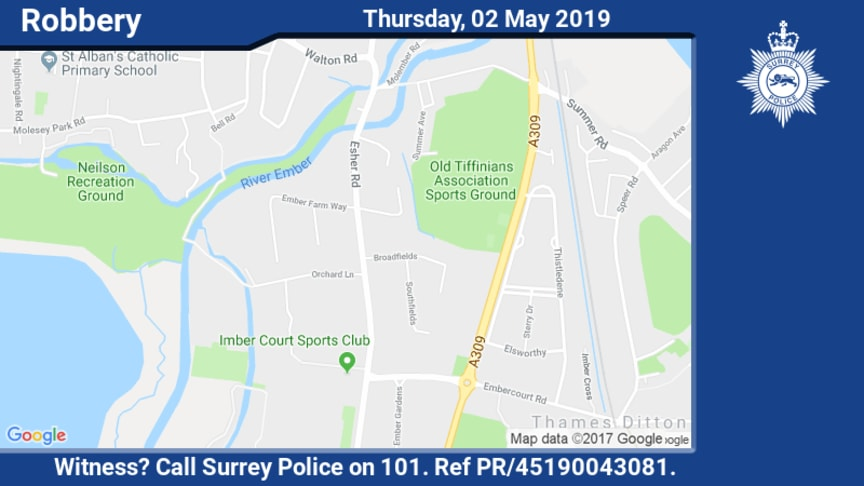 Witness appeal following robbery in East Molesey