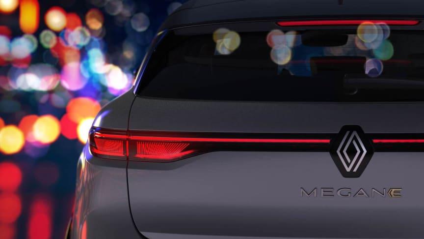 Nya Renault logotypen på  Nya Megane E-TECH Electric