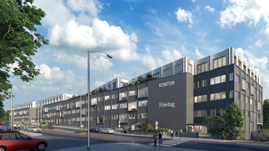 Kv Lybeck i Södra Värtan uppgraderas inom ramen för befintlig detaljplan för att optimera förutsättningarna för den större ombyggnationen i ny detaljplan. Illustration: Strategisk Arkitektur.