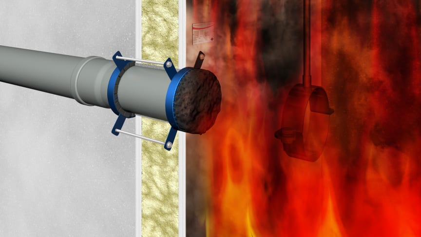 Wirkungsweise eine Brandschutzmanschette bei Feuereinwirkung - am Beispiel einer Curaflam XS Pro von DOYMA