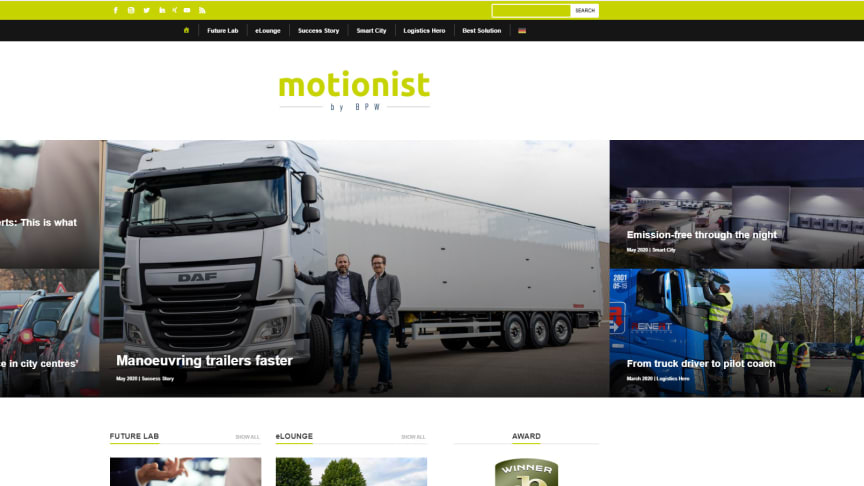The online theme portal for transport and logistics by BPW
