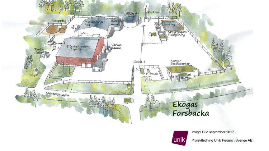 Karta över anläggning i Forsbacka