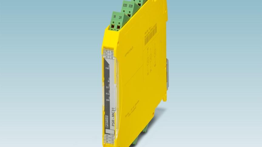 Säkerhetsrelä med solid state utgång /optokopplare från Phoenix Contact