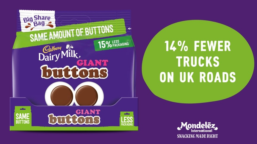 As part of our #UK Pack Light Pack Right strategy, our Cadbury Giant Buttons, Caramel Nibbles and Bitsa Wispa large share bags will now use 15% less plastic packaging, needing 14% fewer trucks to deliver tasty treats to the UK