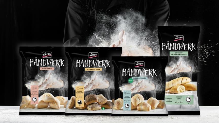 Håndværk består av Veggen spelt, Gourmetstykker vendt i valmuefrø og solsikkekjerner, Surdeigsstykker og Gourmet hvitløksbaguetter.