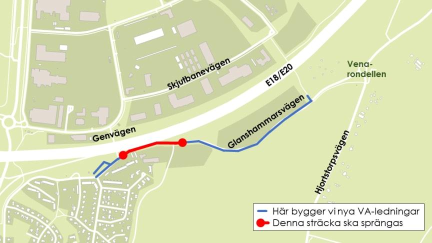 Vi spränger på Glanshammarsvägen – risk för köbildning på E18/E20