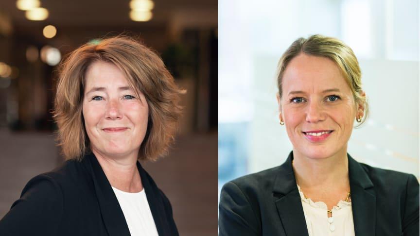 Johanna Frelin, vd på Riksbyggen och Lina Öien, chef för enhet för hållbar utveckling på Riksbyggen.