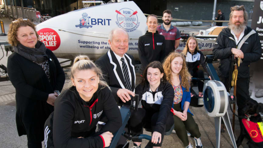 Northumbria University students, staff, partners and Phil Packer MBE (far right) come together to launch Northumbria's Row Britannia Challenge