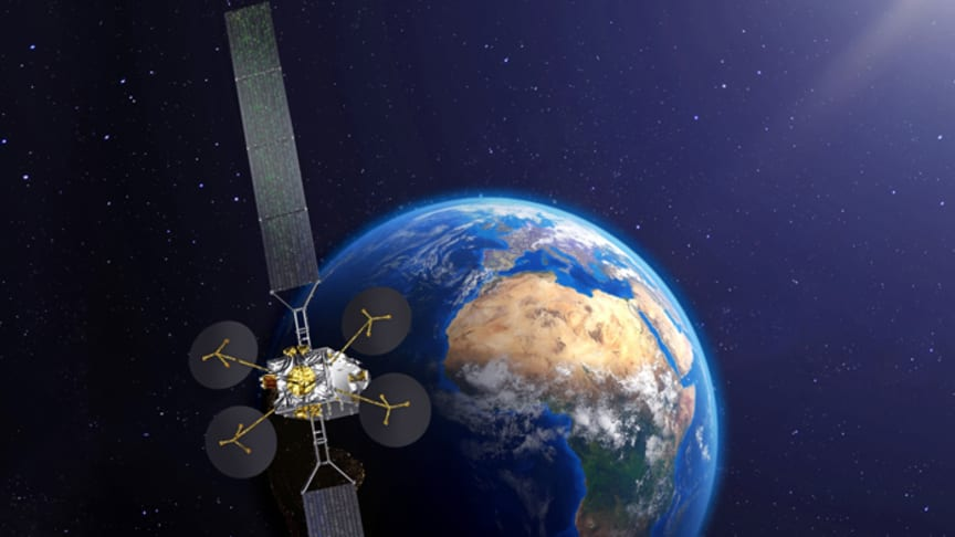 Artist rendition of KONNECT satellite (Credit: Thales Alenia Space)