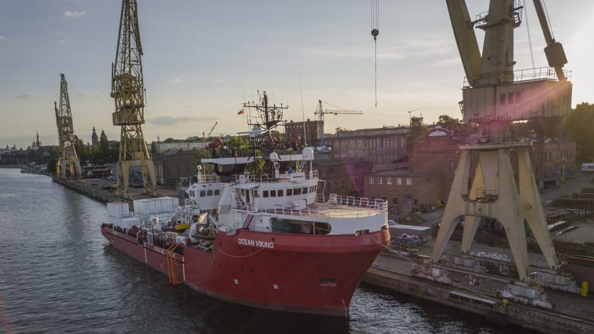 Fartyget Ocean Viking har utrymme för 200 överlevande och är utrustat med snabba räddningsbåtar och en medicinsk klinik. Bild: Kevin McElvaney / Läkare Utan Gränser