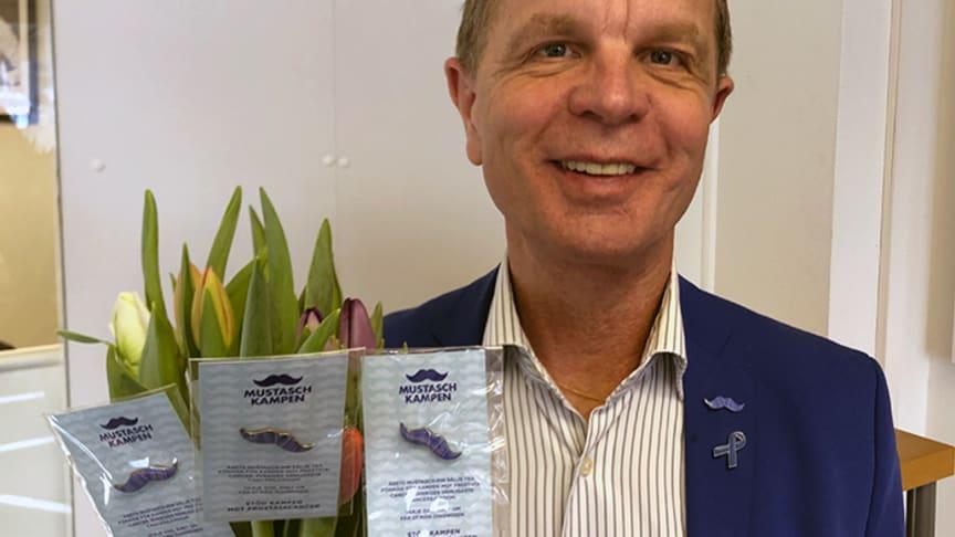 Kring Alla Hjärtans Dag kan du köpa mustaschpins i Guldfynd samtliga butiker. En perfekt liten gåva som verkligen gör skillnad tycker Göran Hellberg, Prostatacancerförbundets generalsekreterare.