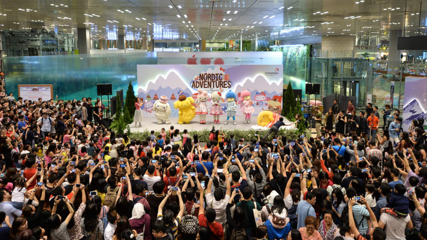 Crowd at the launch of Changi Airport's mid-year holiday festivities with beloved Hello Kitty & Friends
