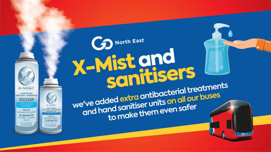 Extra antibacterial treatments and hand sanitisers on all buses as Go North East introduces further measures to protect bus users and make services even safer