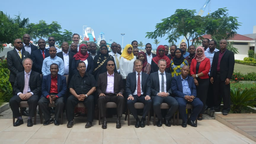 Group photo taken during the High-level Event held at Hotel Verde in Zanzibar January 20th 2020 to celebrate the accomplishments of ZESS   Photo: Multiconsult