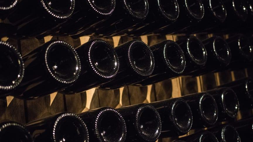 Esslingen: Sparkling wine bottles in the cellar