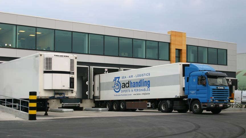 Brussels Airport: an AD Handling-branded truck docks at the perishables center of Adelantex