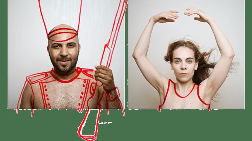 """Magdi Saleh och Arina Katchinskaia i Roland Schimmelpfennigs """"Tennsoldaten och pappersdansösen"""" på Kirsebergs fritids- och kulturhus. Foto Johan Sundell"""