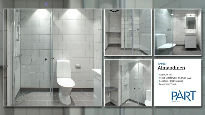 Part levererar 147 badrum till projektet Almandinen i Tyresö.