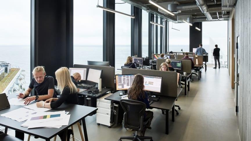 AART's kontor i Aarhus på toppen af Pakhusene, som virksomheden selv har tegnet.