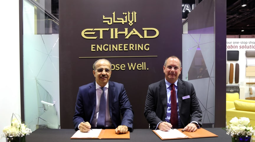 Abdul Khaliq Saeed, Chief Executive Officer, Etihad Airways Engineering and Terry Stone, Managing Director and Head of Sales and Support EMEA, Satair signed a MoU at MRO Middle East for supply chain solutions for worldwide aircraft parts availability