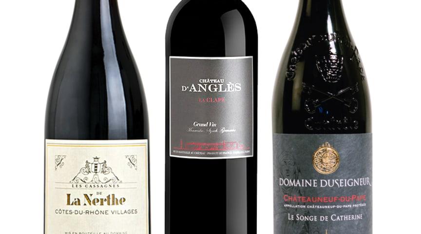 """La Nerthe Les Cassagnes 2016, Château d'Anglès Grand Vin Rouge 2015, Domaine Duseigneur Châteauneuf-du-Pape """"Le Songe de Catherine"""""""