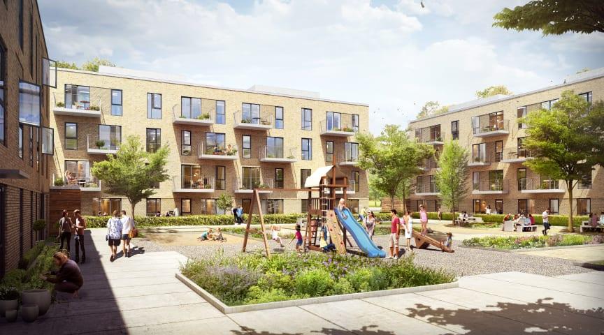 De 64 boliger opføres i 3 - 4 etager omkring et grønt gårdrum til beboerne