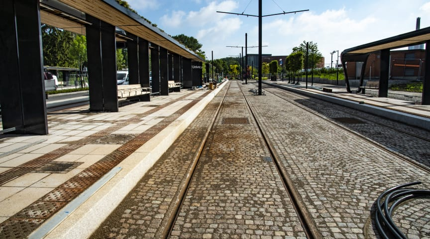 Hållplatsen vid Universitetssjukhuset i Lund.