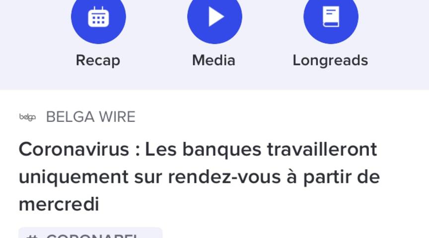 De Belga.press-app: #coronavirus