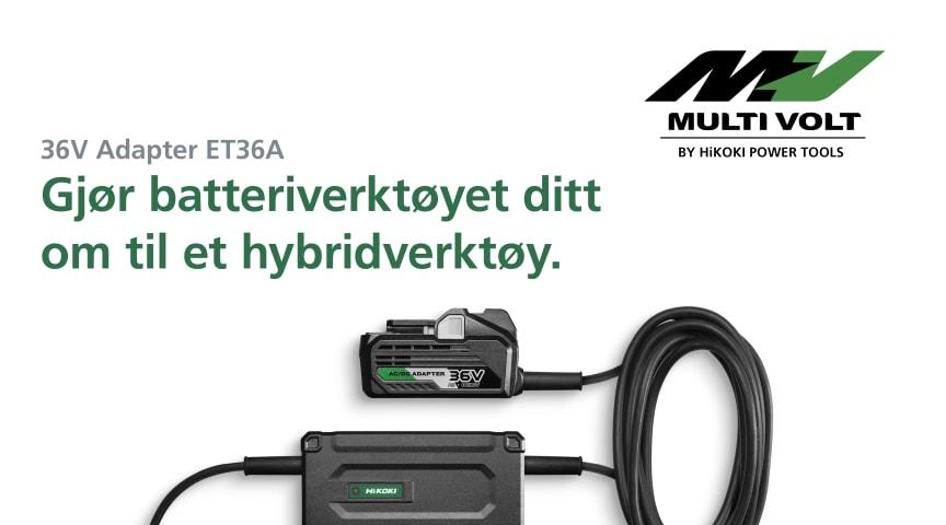 Adapter ET36A gjør det mulig å bruke HiKOKIs 36V MULTI VOLT-batteriverktøy med nettstrøm.
