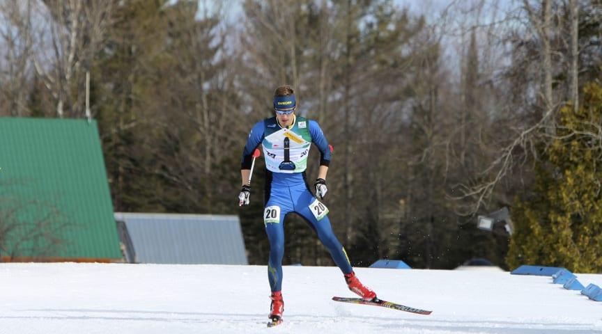 Umeåsonen och landslagsåkaren Erik Blomgren, Umeå OK, tävlar under SM- och världscuptävlingarna i skidorientering i Vindeln, 21 - 26 februari. Foto Mårten Lång/Skogssport.