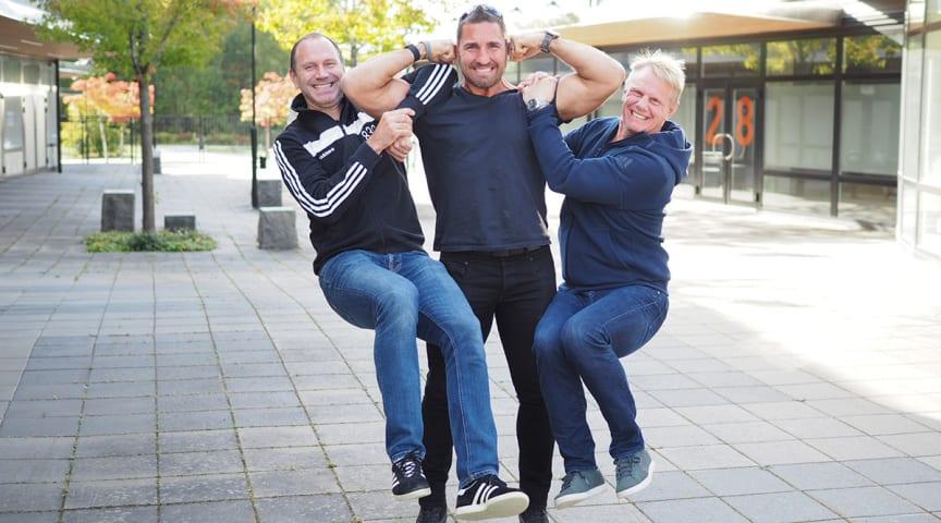 Jonas Eriksson, Peter Bláha och Niklas Wikegård öppnar den nya träningsanläggningen WE Scandinavian XPO under februari 2020.