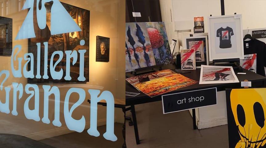 Galleri Granen öppnar ART SHOP. På bilden syns konst från utställningen Analog Art av Högstedt & Brånfelt.