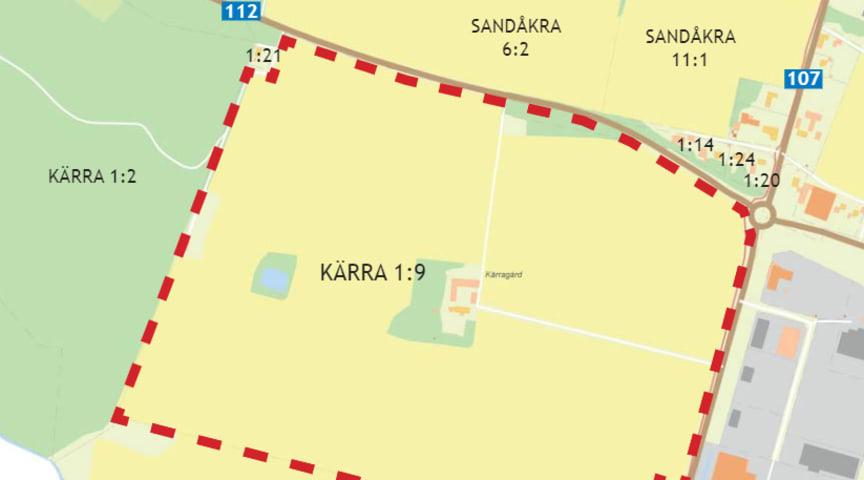 Kartan visar omkringliggande fastigheter och vägar. Fastigheten Kärra 1:9 är inom röd streckad linje.