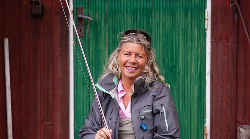 Flugfiskeinstruktören och fiskeguiden Sivan Jansson, 60, i Älvkarleby