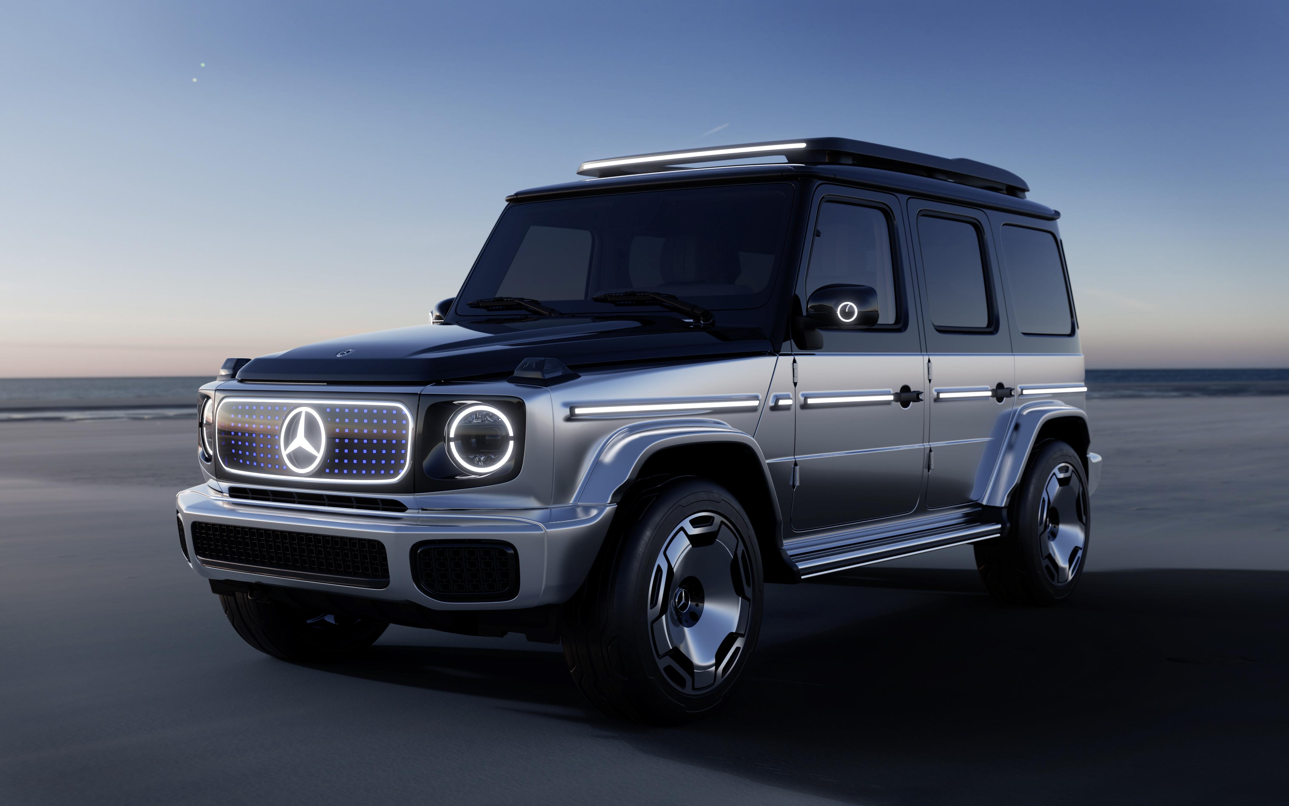 Eldriven Mercedes-Benz G-Klass på väg