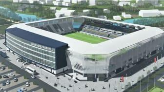 Das Stadion des Fußball-Regionalligisten FC Carl Zeiss Jena soll Ende Juni 2023 fertiggestellt sein (Copyright: EAS Betriebsgesellschaft mbH)