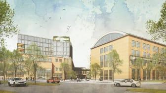 Förslag på hur Entrétorget kan komma att se ut. Illustration: Archus och Sweco Architects