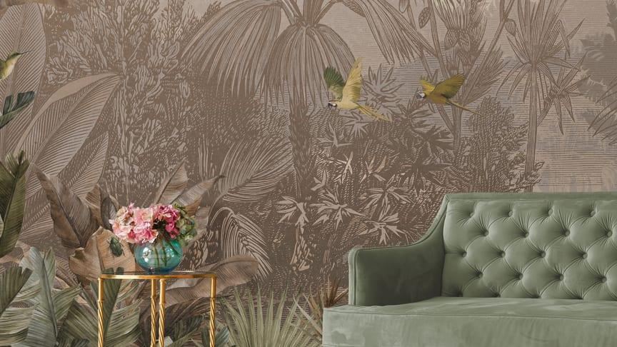 Fugler og jungel i vakre nyanser - tapet 2021.