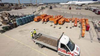 Großbaustelle T3 am Frankfurter Flughafen: Ein Team der ZÜBLIN Baulogistik koordiniert und organisiert im Auftrag der Fraport AG die Infrastruktur und alle logistischen Prozesse rund um den Großteil des Flughafen-Ausbaus. copyright: Ed. Züblin AG