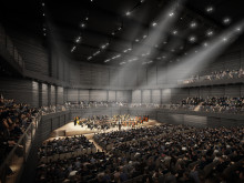 Optimal acoustics and optics through wood: new construction of interim philharmonic concert hall in Munich
