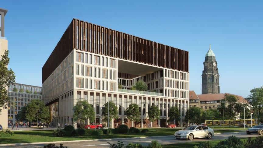 Ein dreigeteiltes Fassadenraster mit farblichen Kontrasten und ein großer Durchbruch auf der Seite zum Rathaus werden die prägnante Optik des Verwaltungszentrums in Dresden bestimmen. Visualisierung: Barcode Architects / Tschoban Voss Architekten