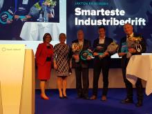 Fra venstre: Anne Marit Panengstuen i Siemens, finansmnister Siv Jensen, Odd Tore Kurverud i GKN Aerospace, Christopher Braathen i Raufoss Technology Neuman Aluminium,  Lars Støbakk Stenerud  Plasto