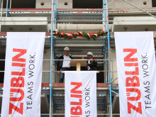 Topping out ceremony for Elbterrassen in Geesthacht near Hamburg