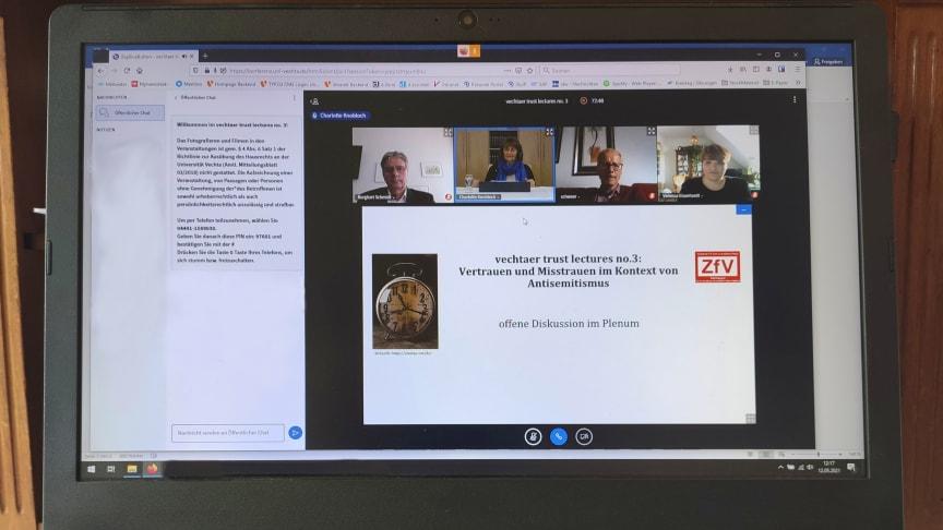 """Die dritte """"vechtaer trust lecture"""" fand pandemiebedingt online statt. Zu Gast waren Charlotte Knobloch und Vanessa Eisenhardt."""