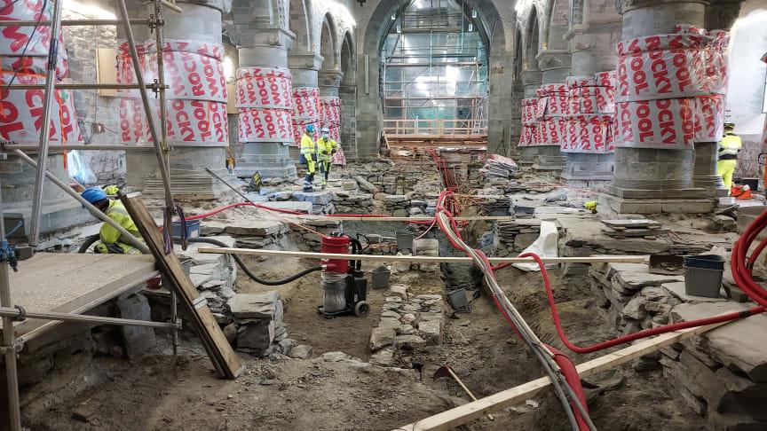Middelalderskatter overvåkes av Cautus Geo under Stavanger domkirke.