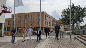 ZÜBLIN Timber, EN-Landrat Schade besucht Baustelle Uni Witten/Herdecke