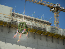 Topping out ceremony for expansion of Deutsche Telekom data centre in Biere