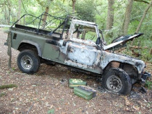 Burnt out Land Rover found in Shrewsbury Park, Woolwich