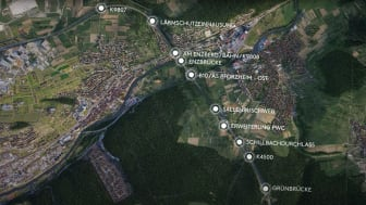 Die STRABAG-Gruppe wird die BAB 8 im Enztal bei Pforzheim auf sechs Fahrstreifen ausbauen und dabei zahlreiche Kreuzungsbauwerke erneuern sowie eine 380 m lange Lärmschutzeinhausung errichten.  Bildnachweis: Autobahn GmbH Niederlassung Südwest